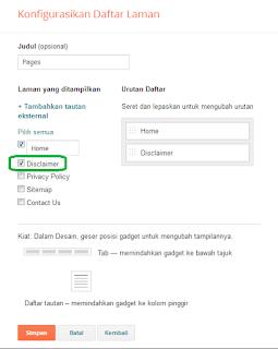 Konfigurasi Daftar Laman
