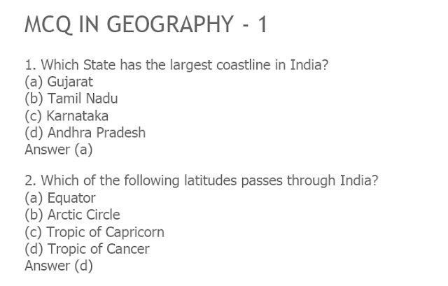 Geography MCQ Question and Answers for Competitive Exams