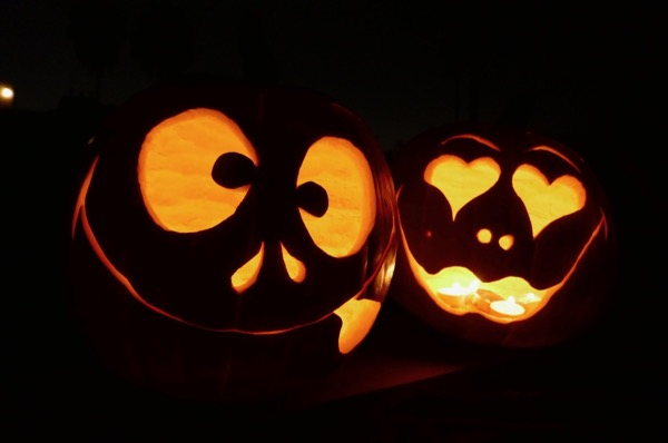 Simple carved Halloween pumpkins