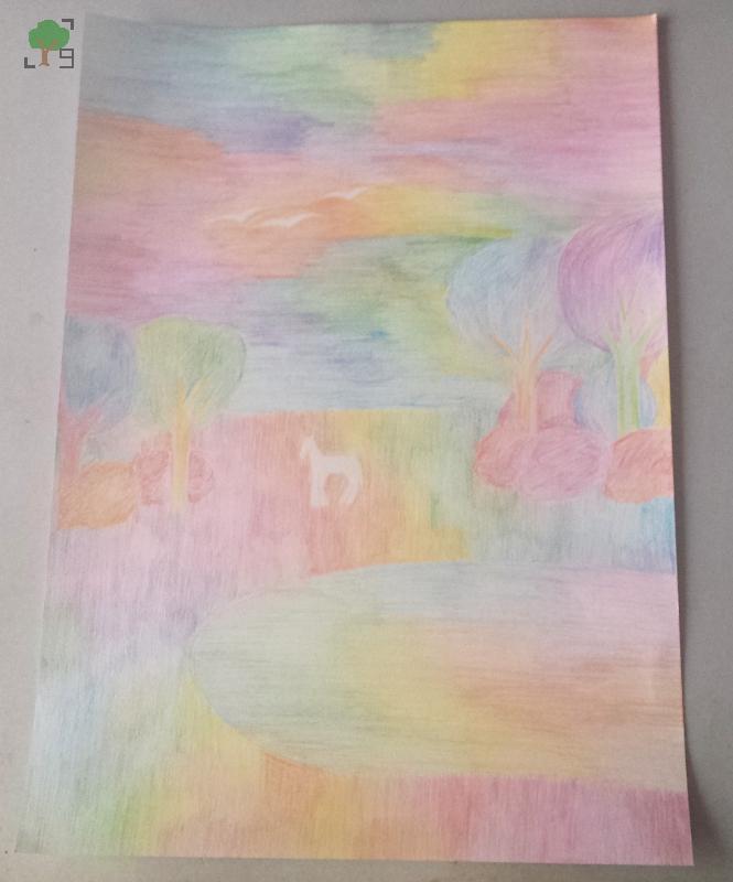 dużo kolorów, koń, jezioro, prezent, sztuka,