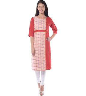 Rs. 539 Aurelia Red cotton Kurta Three Qarter Sleeve Round Neck Ankle Length from fashiondiya