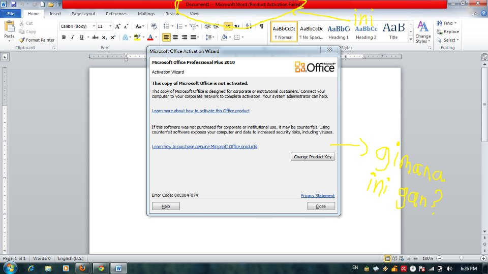 cara activation wizard microsoft office 2010