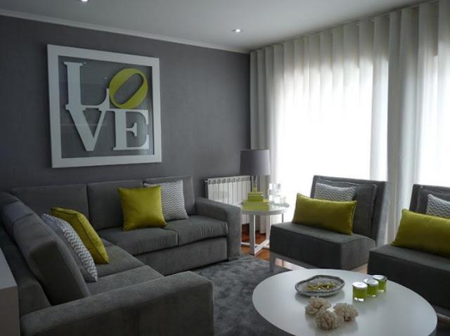 Graues Wohnzimmer Teppichboden Ecksofa Gelbe Akzente. Einrichten ... Creme Graues Wohnzimmer