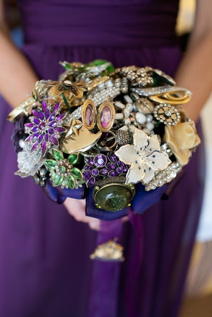 Bridal Bouquets With Vintage Brooches : Dishfunctional designs vintage costume jewelry upcycled