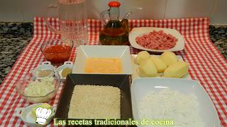 Croquetas de puré rellenas de carne