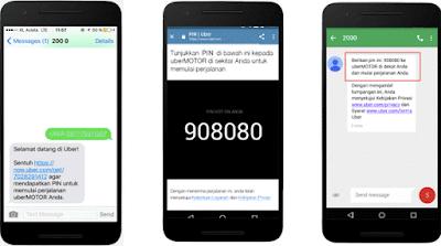 SMS Kode PIN UBER
