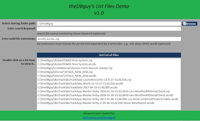 http://www.accessmvp.com/thedbguy/demos/listfiles.asp