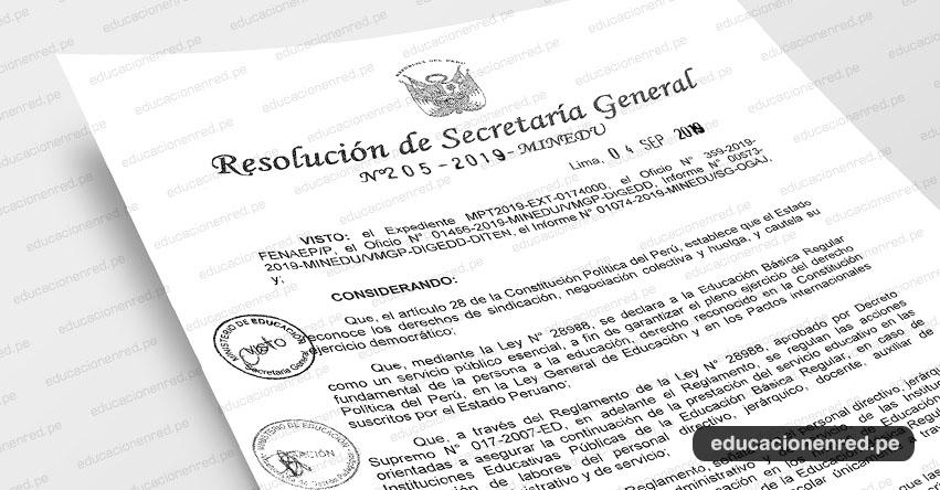 R. S. G. N° 205-2019-MINEDU - Declaran improcedente la comunicación del paro nacional para el día 10 de setiembre de 2019, presentada por la Federación nacional de Auxiliares de Educación del Perú - FENAEP