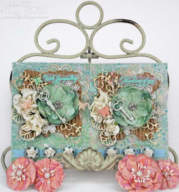 Shabby Mixed Media Card for Scraps of Elegance, Prima Flowers, BoBunny, Prills, Blue Fern Studios Chipboard, Epiphany Crafts Hex Bubbles