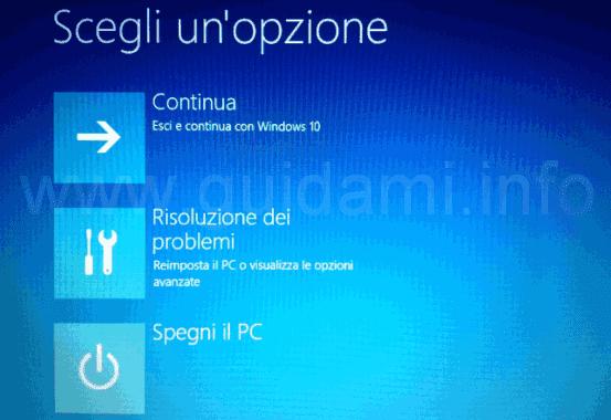 Unità ripristino Windows 10 schermata iniziale