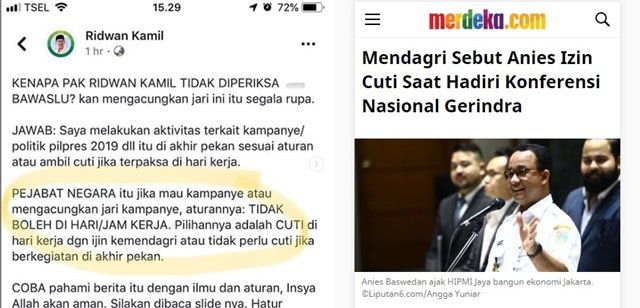 Ridwan Kamil Klaim Lagi Cuti maka Tak Diperiksa Bawaslu, Anies Juga Cuti lho saat Pose 2 Jari