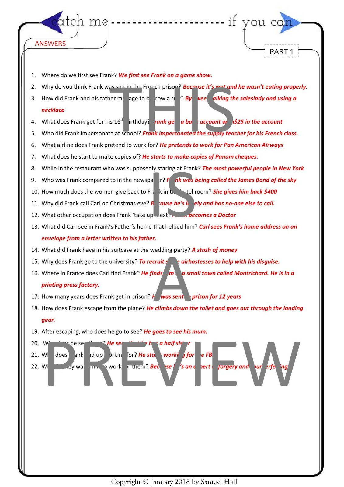 Catch Me If You Can 2002 Movie Comprehension Questions Answer
