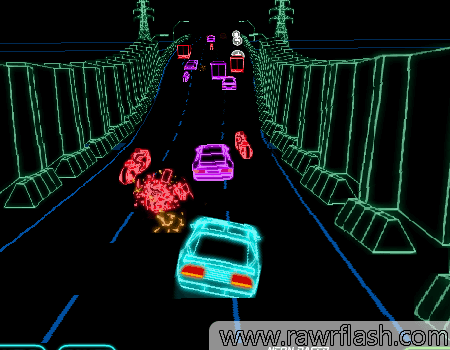 Jogo de corrida de carros em neon, com estilo de jogos de corrida antigos.