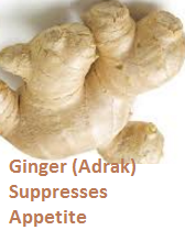 Ginger (Adrak) Suppresses Appetite
