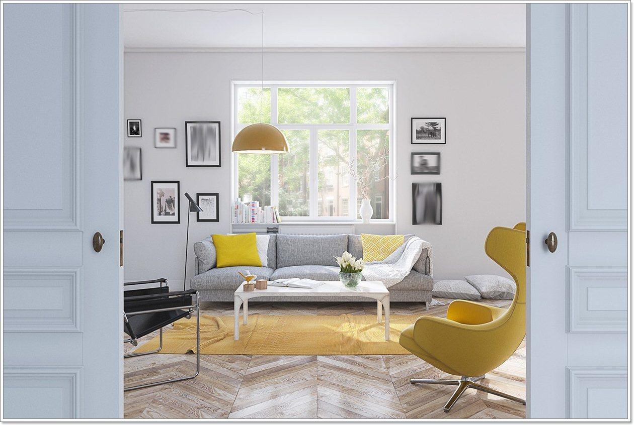 25 nydelig gult aksent stuer - interiør inspirasjon