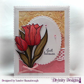 Divinity Designs Stamp Set: Tulips, Custom Dies: Tulips, Scalloped Ovals, Scalloped Rectangles, Rectangles, Beautiful Borders, Embossing Folder: Flourishes, Paper Collection: Beautiful Blooms