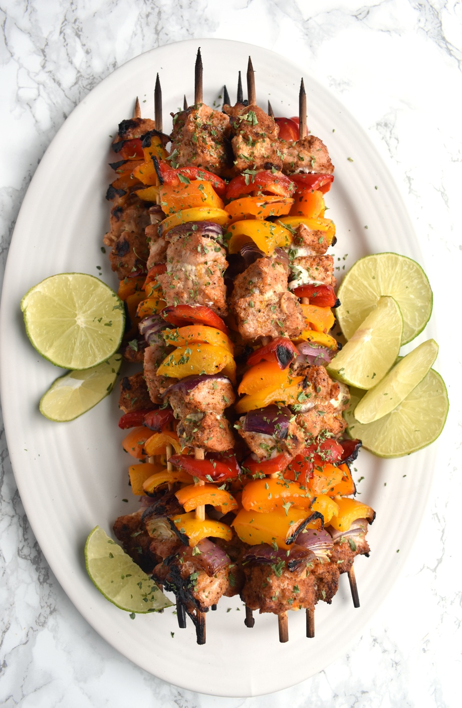platter of pork fajita kebabs