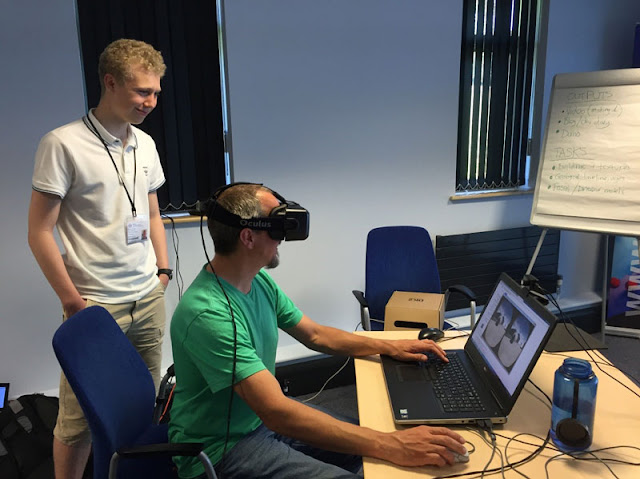 Figure 6 Testing the model while wearing the Oculus Rift