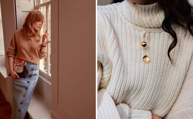 Бежевый и белый базовые свитера с красивыми украшениями