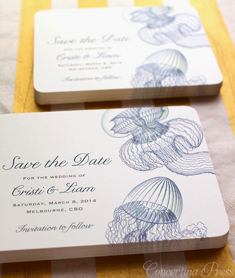 3 Unusual Beach Wedding Invitations And Save The Dates Jellyfish Squid Octopus