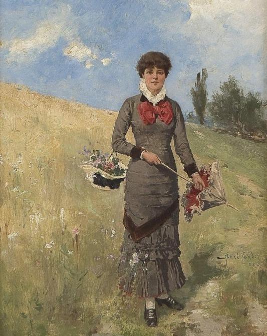 Axel Ender Молодая женщина на поле с цветами