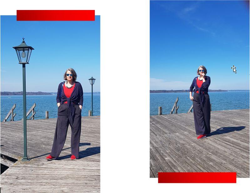 Starnberger See: Maritim kombiniert - Marlenehose, Strickbolero und rote Sneaker.