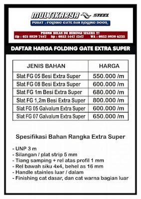 gambar untuk daftar harga foldinggate extrasuper bandung murah