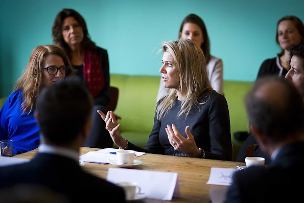 Queen Maxima of The Netherlands visits the Liduina school for a music on schools project in The Hague,