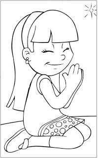 Dibujo de Niño orando para colorear