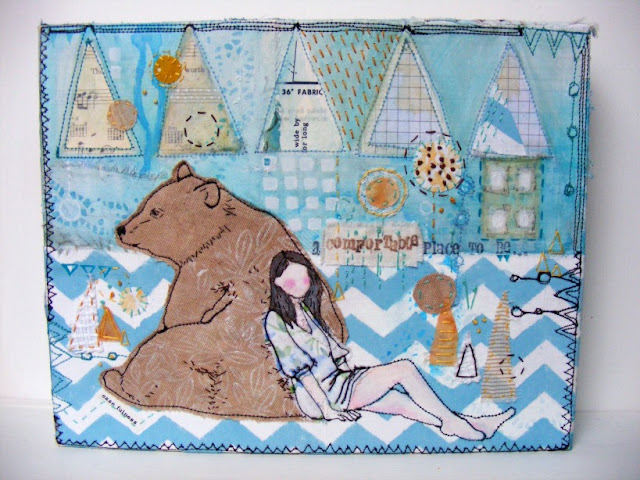 girl and bear, mixed media, fabric collage, Jenny Blair