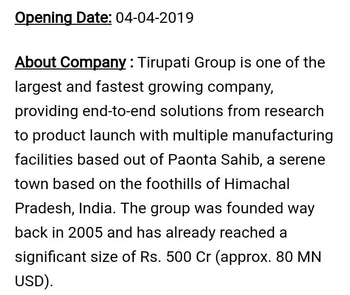 Tirupati Medicare Ltd Urgently Opening for Vice President Business