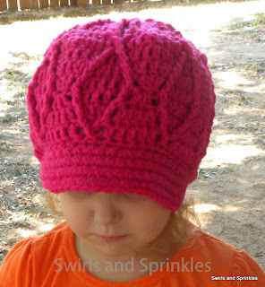 Swirls and Sprinkles: Diamond crochet newsboy hat