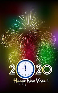 2020 happy new year Reloj cuenta regresiva y fuegos de artificio
