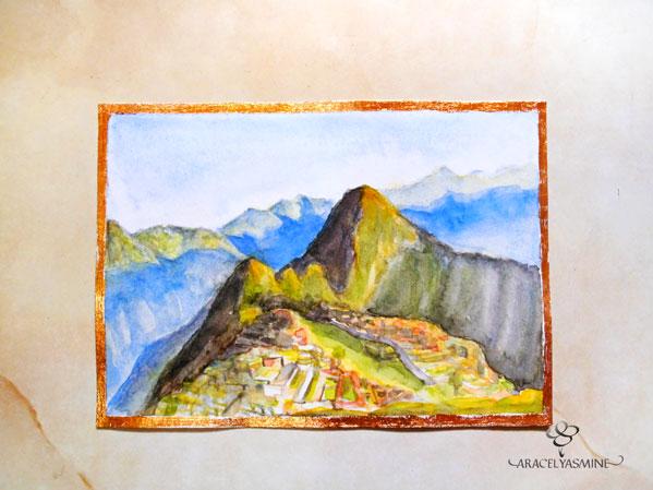 paisaje montañas machu picchu con acuarelas