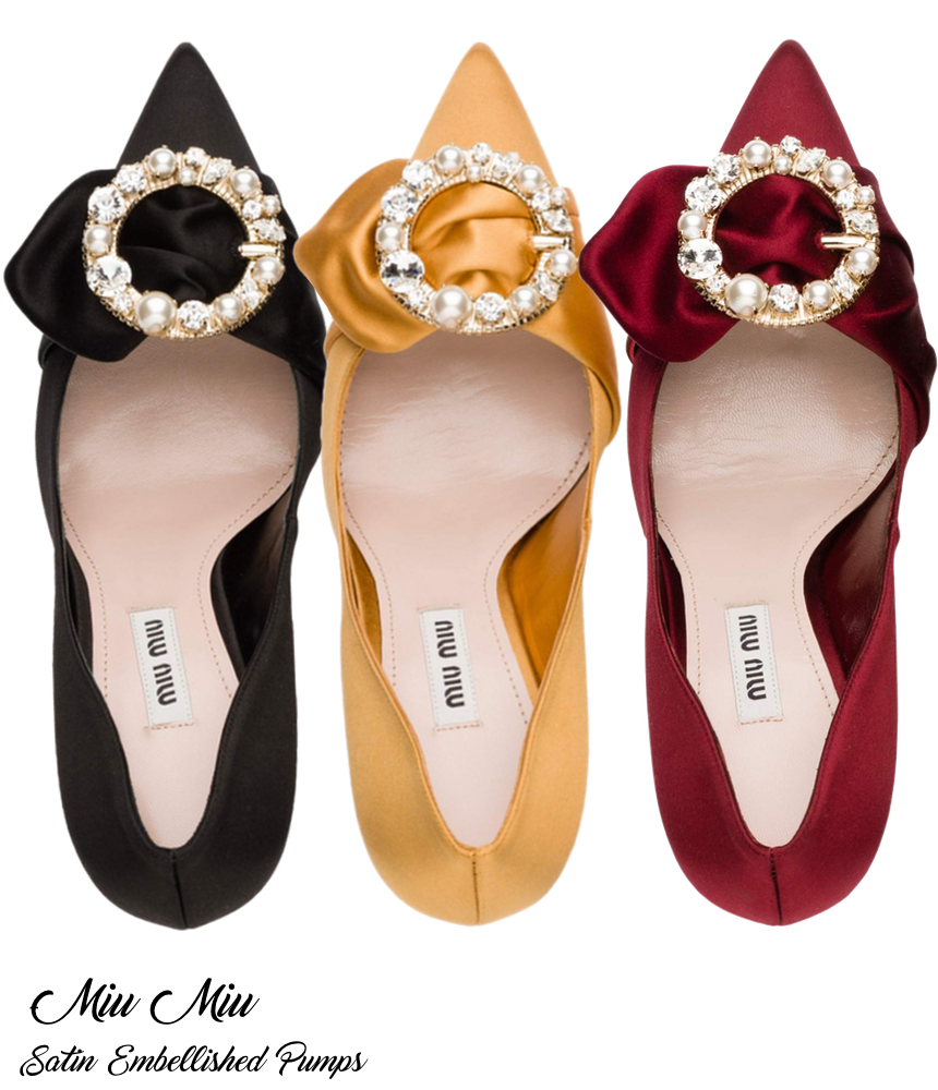 Miu Miu Satin Embellished Pumps in Assorted Colors