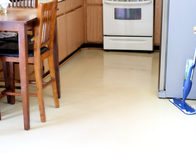 a shiny kitchen floor