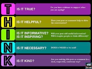 THINK: is it true? is it helpful? is it inspiring? is it necessary? is it kind?