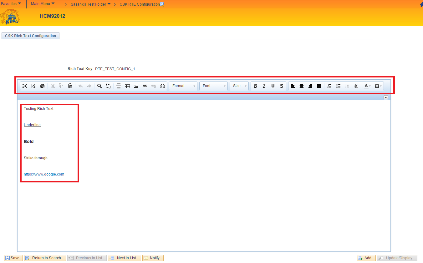 Sasank's PeopleSoft Log: Working with Rich Text Editor