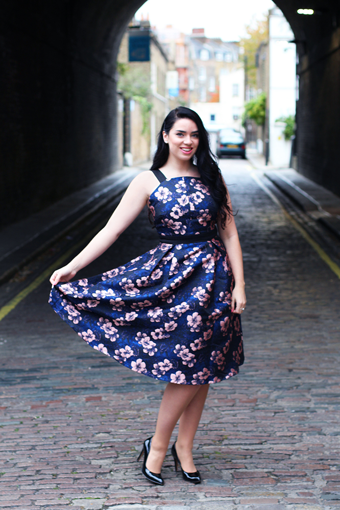 Emma Louise Layla in Lost Ink blue dress - London fashion blog