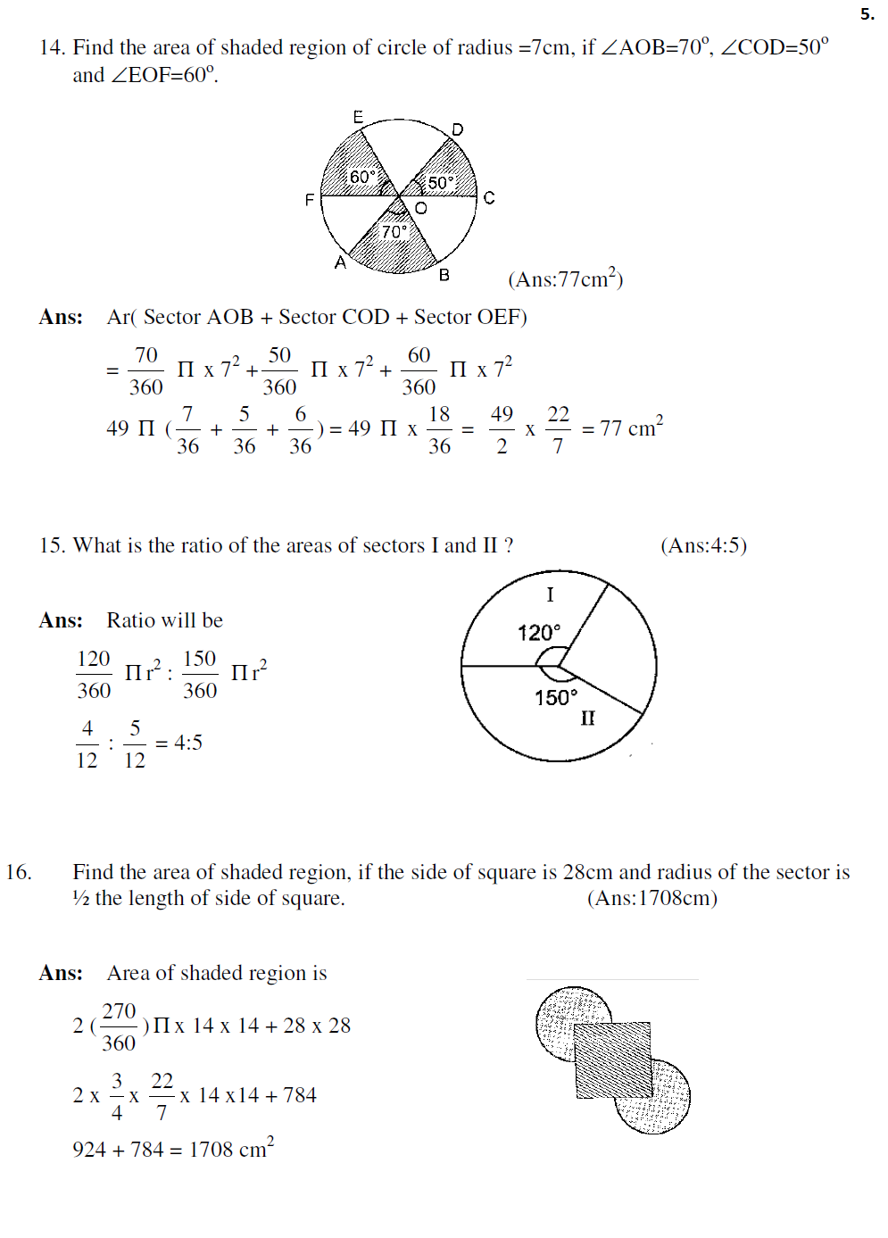 Areas related to Circles - HOTs with solutions | Study Material