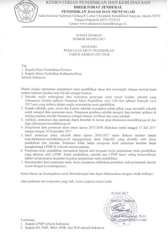 Surat Edaran Dirjen Dikdasmen No 09/D/PD/2017 Tentang Pemetaan Mutu Pendidikan Tahun Ajaran 2017/2018
