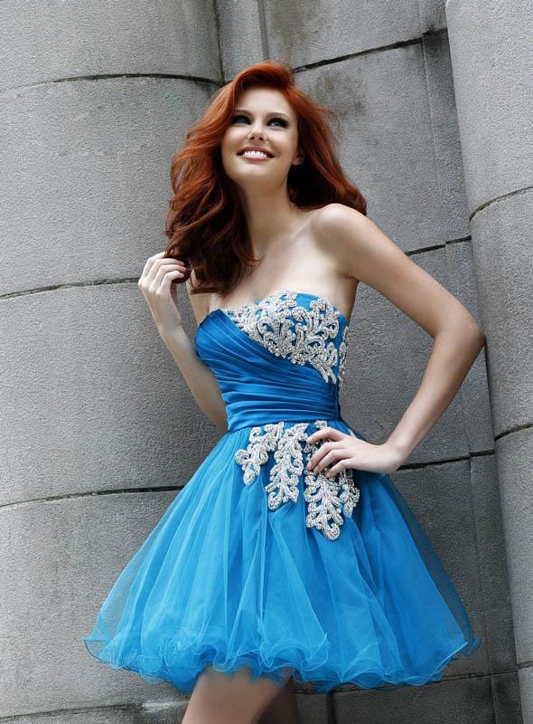 celebrity Gossip: Short Blue Prom Dresses