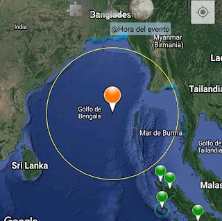 Fuerte sismo cerca de las costas de la india.