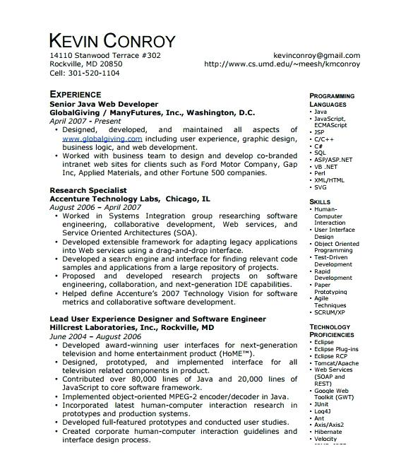 lebenslauf vorlage site  senior java developer resume sample