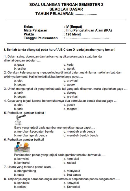 Contoh Latihan Soal UTS IPA SD Kelas 4 Semester II