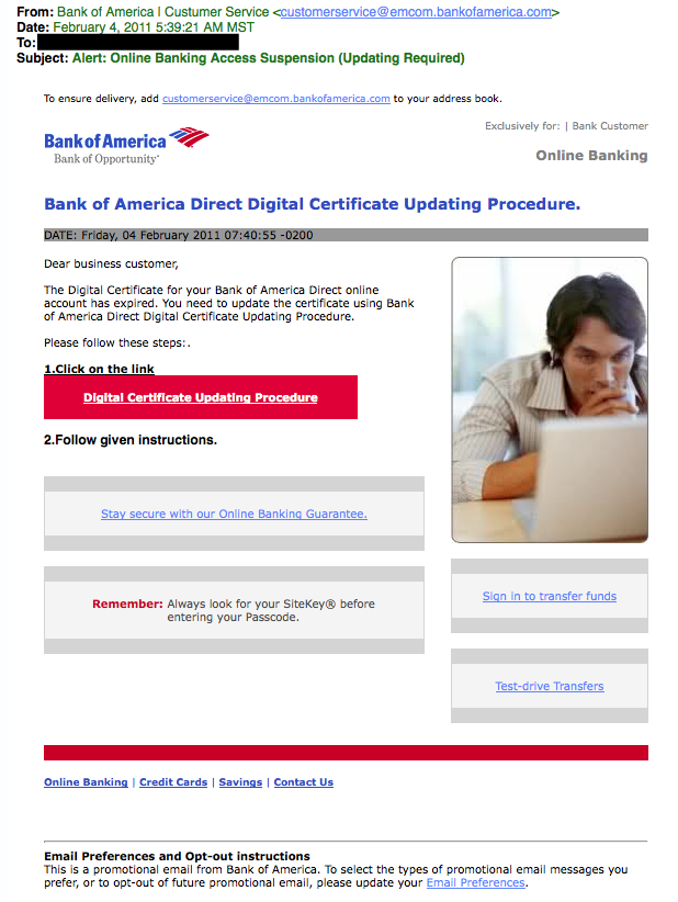 Bank of America phishing example