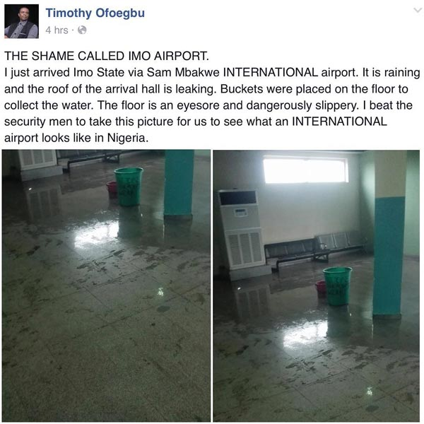 Concerned Nigerian Calls Out Government Over State Of Imo State International Airport