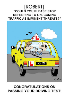 Funny passed driving test cartoon card