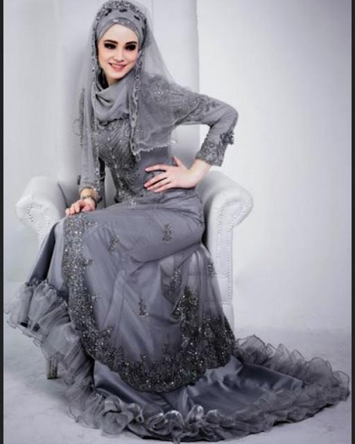 gaun pengantin muslimah elegan dengan kebaya