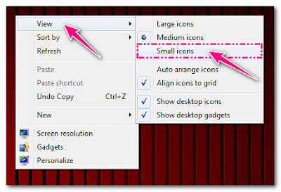 change desktop icons, large, small, medium